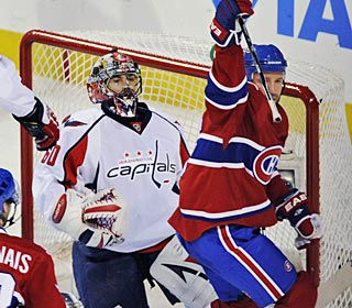 Glen Metropolit and the Habs can celebrate after bringing an end to the Caps' winning streak.  (AP)