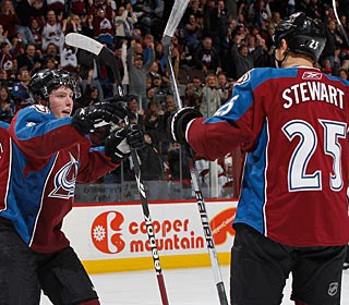 Top rookie scorer Matt Duchene takes his season total to 20 with his two goals. (Getty Images)