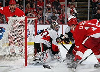 Daniel Cleary beats Brian Elliott for his first goal in five games. (Getty Images)