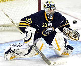 Sabres' Ryan Miller is sharp, allowing just one goal in his last game before the Olympics.  (AP)