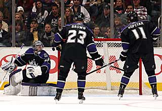 The Kings admire Jonathan Quick's work as he stops all of Colorado's shots. (Getty Images)