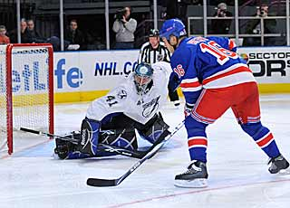 Sean Avery scores on a penalty shot to spark the Rangers' rally. (Getty Images)