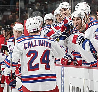 Ryan Callahan plays a big part in New York's game-changing four-goal second.  (Getty Images)