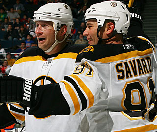 Marc Savard's second-period power-play goal turns out to be the difference in this game. (Getty Images)