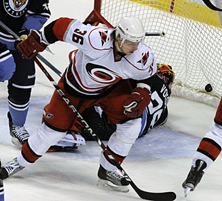 Jussi Jokinen scores his 25th goal, but it's the only one the 'Canes put past the Panthers in this game. (AP)