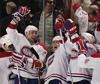 After trailing 3-0, the Canadiens rally and celebrate after winning in the shootout.  (Getty Images)