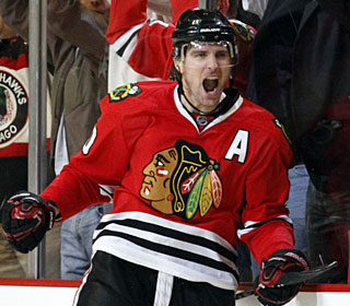 Patrick Sharp scores two goals in a game for Chicago for the second time this season. (AP)