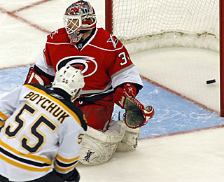 Johnny Boychuk makes it 2-0 for the Bruins with his first goal and point in six games. (AP)