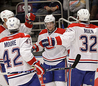 Sergei Kostitsyn's (center) goal gives Montreal its 318th win over the Rangers -- 122 in New York. (AP)