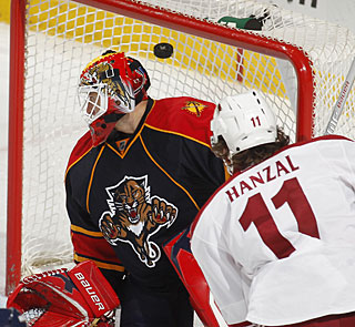 Martin Hanzal starts the comeback for Phoenix with the first of three goals in the third. (Getty Images)