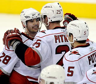 Playing in only his third NHL game, Jamie McBain (28) gains popularity after his game winner. (AP)