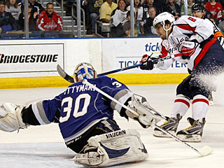 Alexander Ovechkin gets right back to scoring mode, with his 45th goal. (AP)