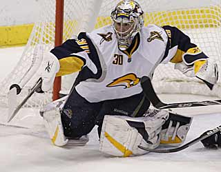 Three goals is more than enough support for Ryan Miller, who stops 31 shots. (AP)
