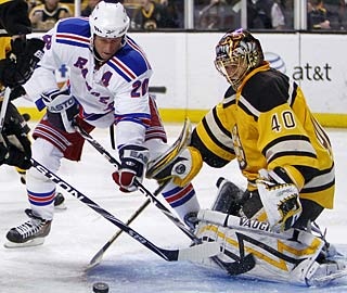 Tuukka Rask, turning away Vinny Prospal, just missed on his shutout bid.  (AP)