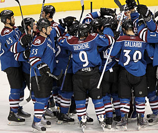 The Avalanche end up celebrating the win after finishing off the Kings in the shootout. (Getty Images)