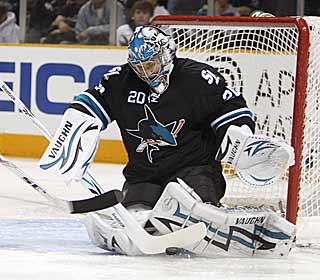 Evgeni Nabokov stops all 27 shots he faces to earn the 50th shutout of his career. (AP)