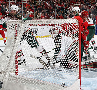 As usual, Johan Franzen overpowers the opposition in front of the net for one of his goals. (Getty Images)