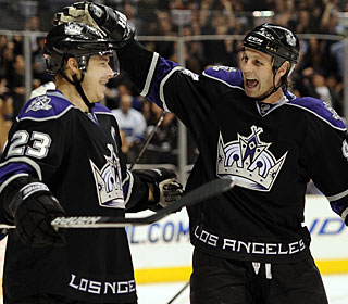 Dustin Brown (23) scores three goals in a game for the second time in his NHL career. (Getty Images)