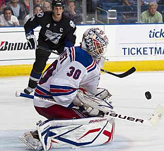 Another Henrik Lundqvist shutout helps the Rangers creep closer to the East's final playoff spot. (AP)