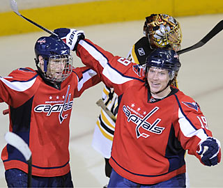 Brooks Laich (left) celebrates with Nicklas Backstrom after Laich scores the Caps' winning goal in OT.  (AP)