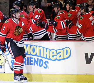 Duncan Keith scores the first of four goals in a 3:08 span in the first period. (US Presswire)