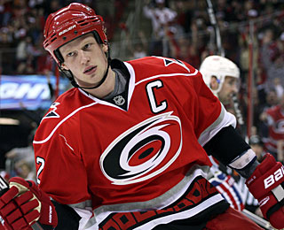 Eric Staal gets his second hat trick this season and also has five points for the second time. (US Presswire)