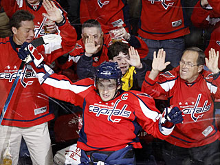 Alexander Ovechkin and Capitals fans celebrate the superstar's 50th goal of the season. (AP)