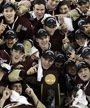 Boston College celebrates its second championship in three years. (AP)