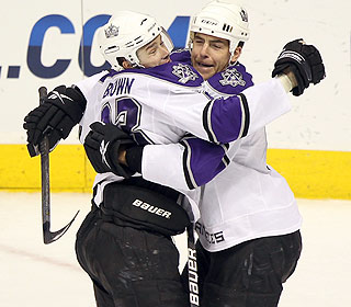 Dustin Brown celebrates the game winner as the Kings are finally returning to the playoffs. (Getty Images)