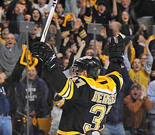 Patrice Bergeron electrifies the home crowd with his goal late in the third period. (Getty Images)