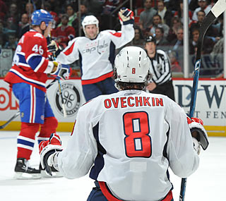 Alex Ovechkin takes time to enjoy a goal during the Capitals' high-scoring second period.  (Getty Images)