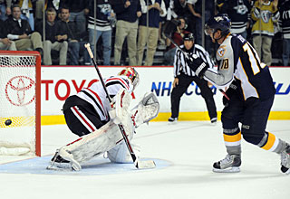 Martin Erat makes this penalty shot to conclude the scoring for Nashville. (US Presswire)
