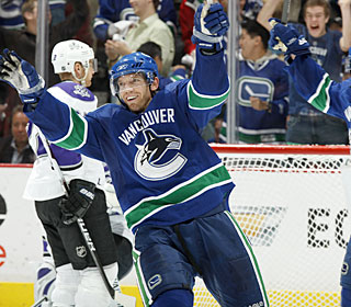 Mikael Samuelsson celebrates one of his two goals as the Canucks take a 3-2 series lead.  (Getty Images)