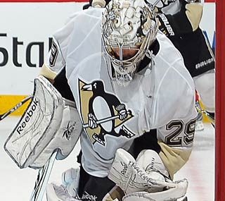 Penguins goalie Marc-Andre Fleury drops a rare home shutout on his hometown Canadiens.  (Getty Images)