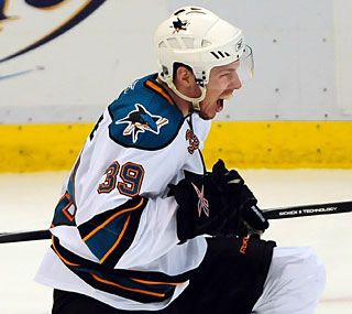 San Jose's Logan Couture ties the game with 6:43 left in third, setting up the overtime heroics.  (US Presswire)