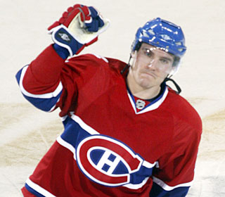 Mike Cammalleri is all smiles after one of his two goals in the Habs' Game 6 win.  (AP)