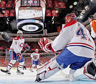 Jaroslav Halak watches one of the four goals he allowed fly by him in Montreal's loss.  (Getty Images)