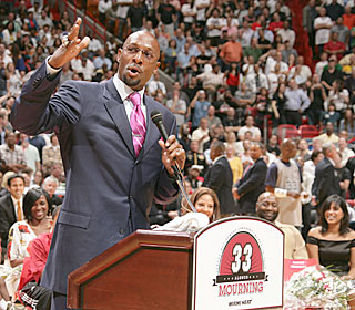 Alonzo Mourning becomes the first Heat player in team history to have his number retired.  (AP)