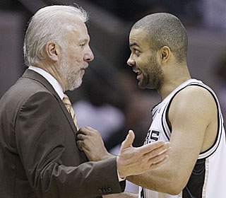 Gregg Popovich shouldn't have much to complain about after Tony Parker's performance.  (AP)