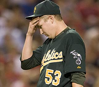 Rookie Trevor Cahill doesn't have to sweat much, allowing two hits in seven innings.  (AP)