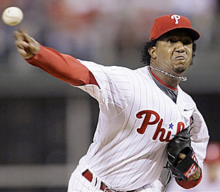 It looks like vintage Pedro as he tosses seven impressive innings against the Giants. (AP)
