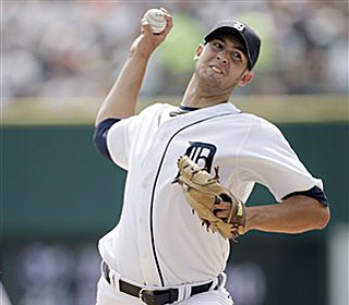 Rick Porcello gives up two runs over six innings to help the Tigers snap a five-game skid. (AP)