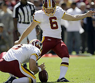 Shaun Suisham's three field goals account for all of the Redskins' points vs. the Rams.